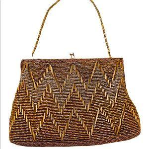 Magid handmade bronze beaded purse